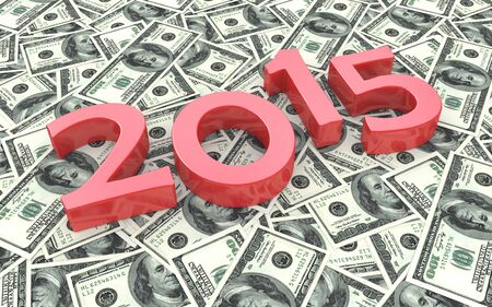 red bills: Red 2015 on the background of one hundred dollar bills in the design of the information related to finances
