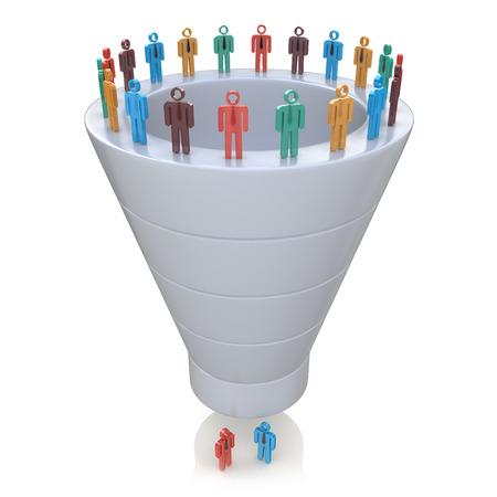 Etapas del interés de los consumidores. Embudo de Ventas en el diseño de la información relacionada con la comercialización Foto de archivo - 53183657
