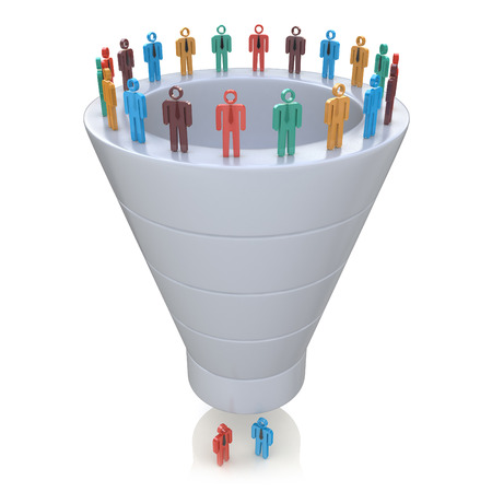 sales person: Stages of consumer interest. Sales Funnel in the design of information related to marketing Stock Photo