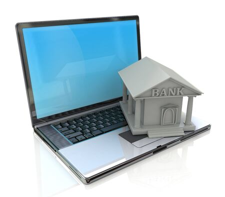 e banking: e-banking, e banking, laptop with bank 3d icon in the design of information related to business Stock Photo