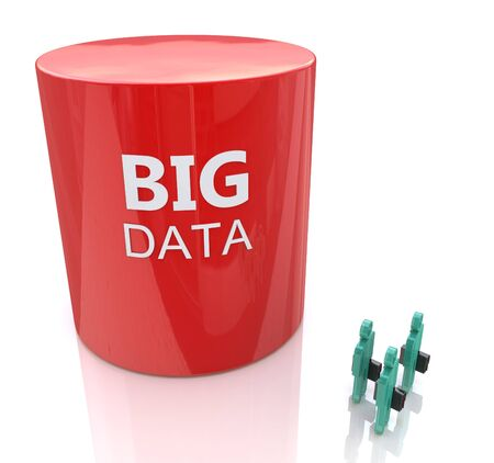 Huge database symbol dwarfs three people - big data concept in the design of information related to internet technologies