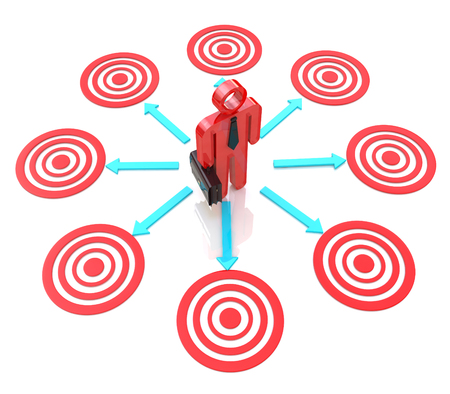 objectives: 3d man chooses a target for the design of the information related to the business objectives Stock Photo