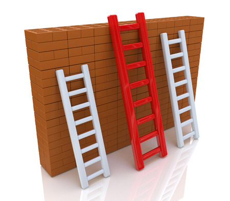 surmount: Several ladders with different length leaning the brick wall in the design of access to information relating to the business and competition