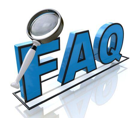 Loupe à la recherche du texte FAQ dans la conception de l'information relative à la recherche de réponses Banque d'images - 55128325