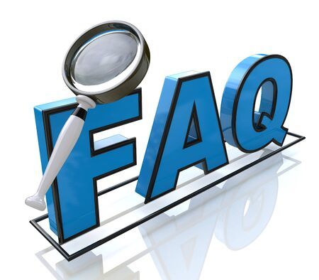 frequent: Magnifying glass looking to the text FAQ in the design of the information related to the search for answers Stock Photo