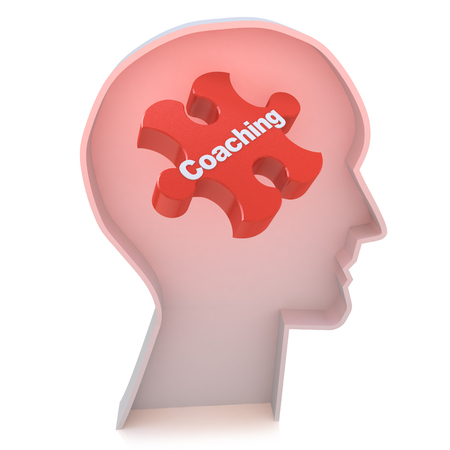 red puzzle piece: Education concept: Head With Red Puzzle Piece and word Coaching, 3d render in the design of information related to business training