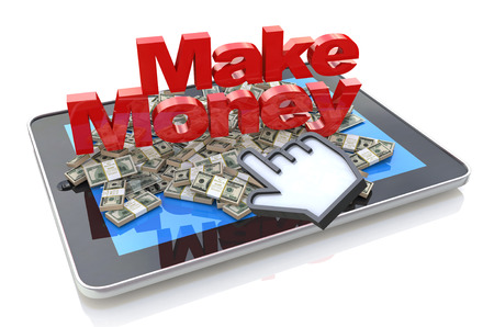 money online: Making money online - Tablet pc computer with 3d text Make Money and Heap of dollars