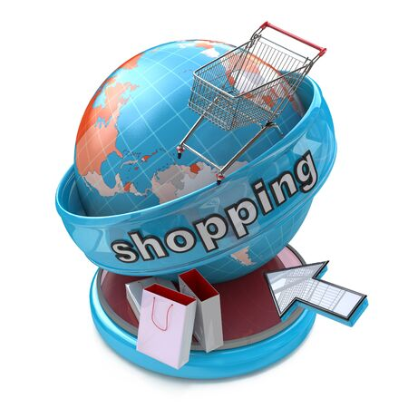 relating: Global online shopping in the design of access to information relating to business and commerce Stock Photo