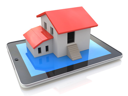 simple house: Tablet PC with simple house model on display - 3d illustration in the design of information related to real estate