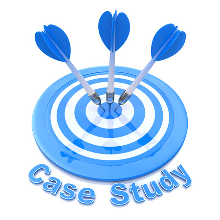 Target and word Case Study Stock Photo