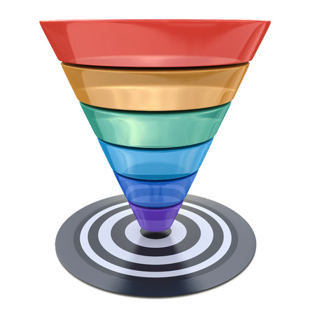 Conversion funnel over a white background with a target in the design of information related to marketing Imagens