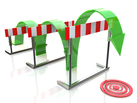 surmount: Arrow jumping over hurdles in the design of access to information relating to the business and its goals Stock Photo