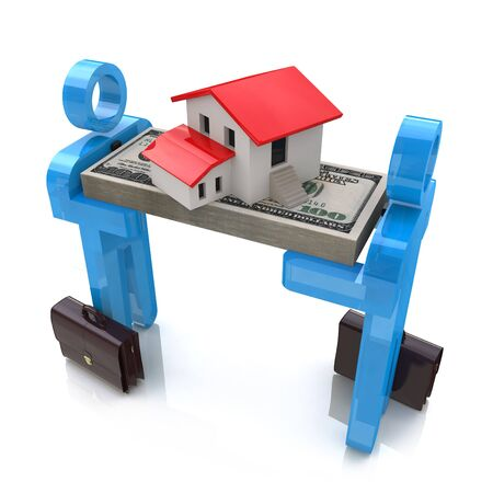 obtaining: 3d people, small house and dollar pack in the design of the information related to the obtaining of Real Estate Stock Photo