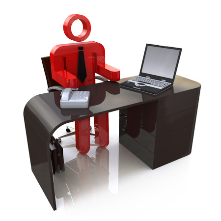 governing: 3d people - human character, person sitting at a office. Employee, Boss, Chief, Director. 3d render in the design of access to information relating to the business Stock Photo