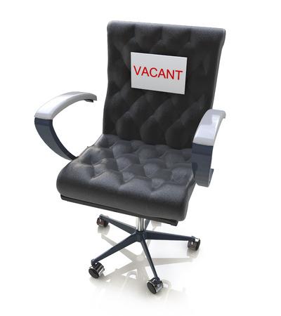 sillon: Silla de oficina con un signo de la vacante en el Lugar de Trabajo en el dise�o de la informaci�n relacionada con los negocios Foto de archivo