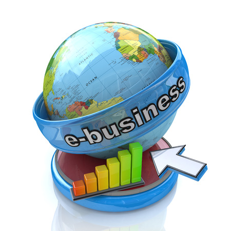 relating: online Business in the design of access to information relating to business and commerce Stock Photo