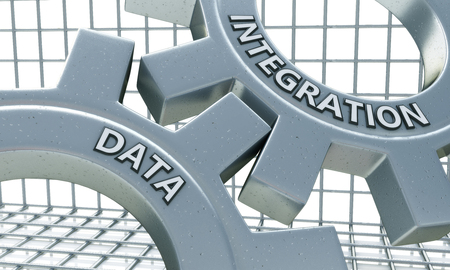reciprocity: Data Integration on the Mechanism of Metal Gears in the design of information related to business technology Stock Photo