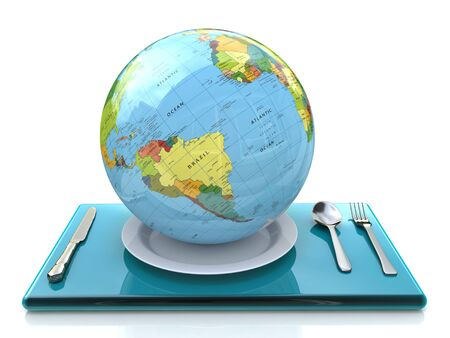 globe on a plate in the design of the information related to global change Banque d'images
