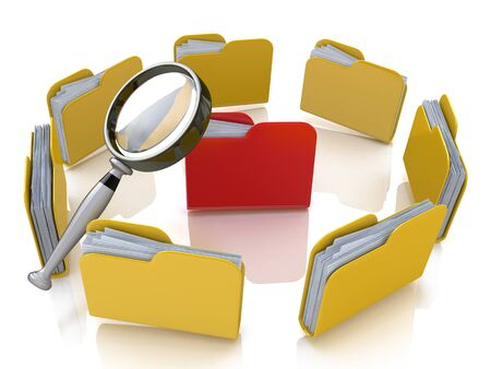 associated: Folder and file search with magnifying glass in the design of the information associated with the search for the right information