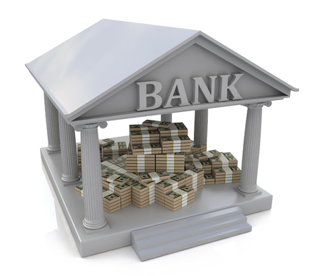 heaps: 3D Bank building and heaps of money in the design of the information related to finance and business