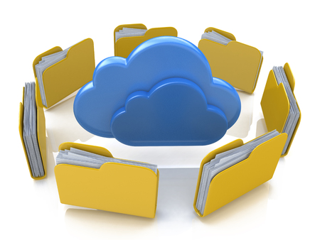 file folders: File folders around clouds in the design of the information related to computer technology Stock Photo