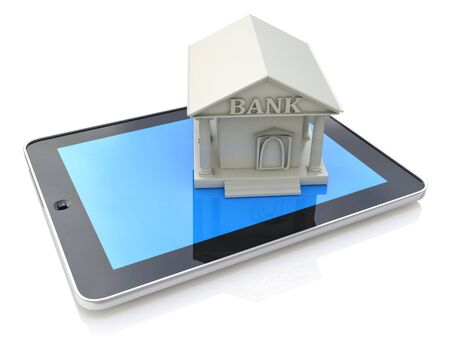 e banking: E-banking, e banking, tablet computer PC with bank 3d icon in the design of information related to online bank