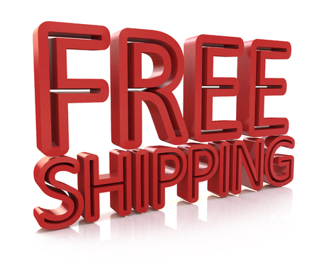 3D Free Shipping text on white background in the design of information related to the delivery