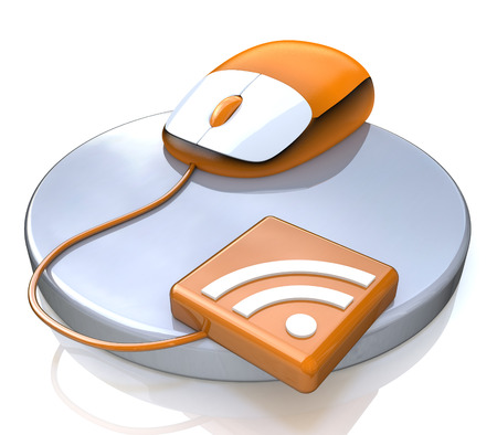 Orange computer mouse with RSS icon in the design of access to information relating to communication on the Internet Stock Photo