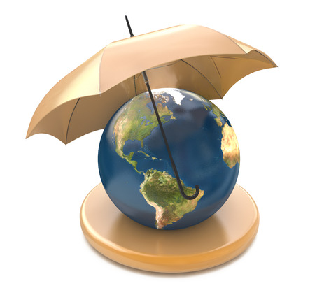 thaw: Umbrella over a globe illustration design over a white background in the design of information related to the protection Stock Photo