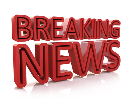 Breaking news 3D text on white background in the design of information related to the news Stock Photo