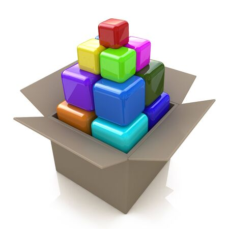 associated: Cardboard box with colored cubes in the design of the information associated with the abstraction