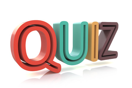 quizzing: The word Quiz in colored 3D letters to illustrate an exam, evaluation or assessment to measure your knowledge or expertise