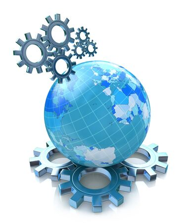 associated: Gears and planet earth in the design of the information associated with the global