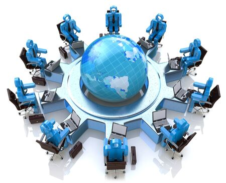 armchairs: Concept of global business communication and teamwork. 3d people with laptops sitting in armchairs around planet earth in the design of the information associated with the global teamwork