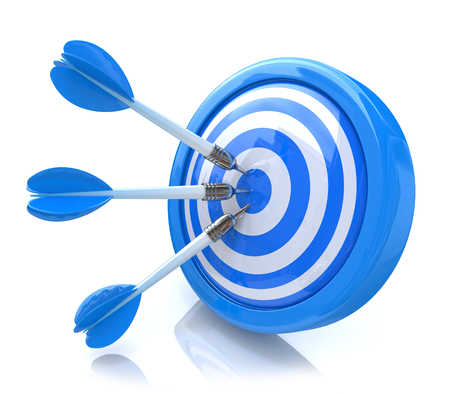 competitividad: Three arrows in the center of a blue target. Image suitable for illustration of strategic business solutions or corporate strategy purpose in the design of the information associated with the success of the business and not just Foto de archivo