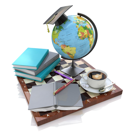 alumna: 3d illustration of Education in the design of the information related to education and acquisition of knowledge