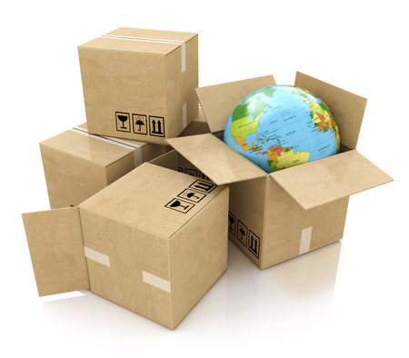 global logistics: Global logistics, shipping and worldwide delivery business concept: Earth planet globe and heap of stacked corrugated cardboard boxes with parcel goods isolated on white background Stock Photo