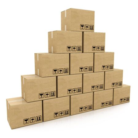 stockpile: pyramid of cardboard boxes on a white background in the design of information related to the delivery