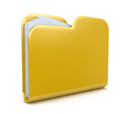 Yellow folder. File 3D. Icon isolated on white background in the design of the information related to computer technology
