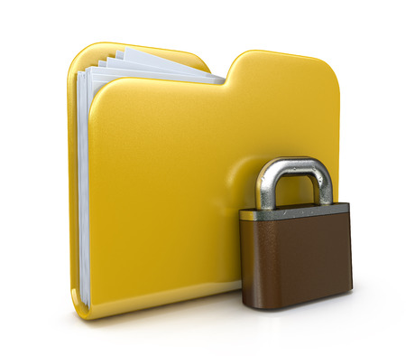 folder lock: Yellow folder icon and lock. Data security concept. 3d illustration a white background in the design of the information related to computer technology
