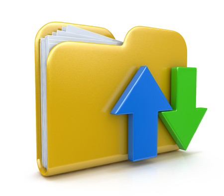 transferring: Folder 3d icon. Date transferring concepts in the design of the information related to computer technology