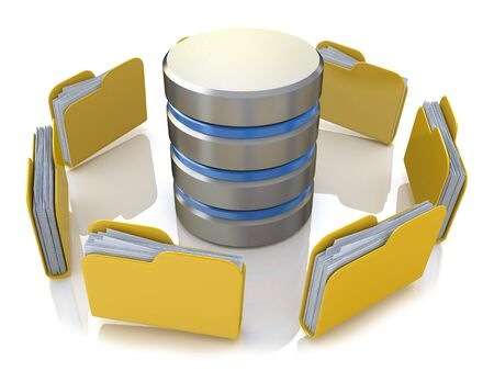Database storage concept on servers in cloud. 3D image isolated on white background in the design of access to information relating to the storage and transmission of information