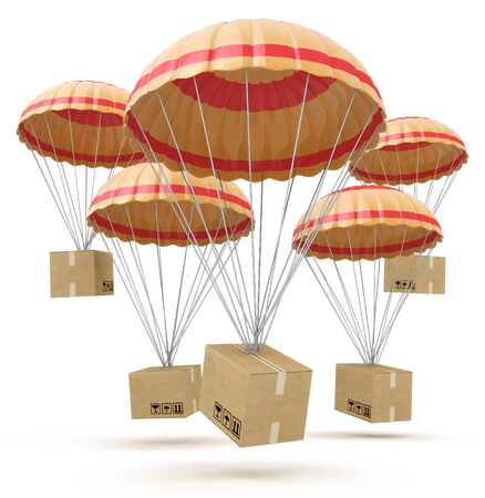 parcels: parcels flying down from sky with parachutes, concept for delivery service isolated on white background