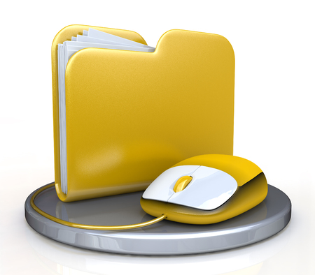 relating: Computer mouse and yellow folder in the design of access to information relating to the storage and transmission of information