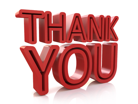 many thanks: 3D Thank You Word in the design of information related to business