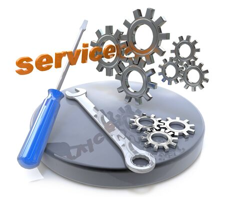 relating: Repair and service concept in the design of access to information relating to technical assistance Stock Photo