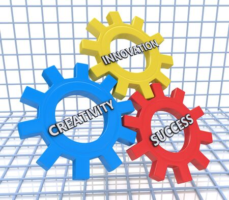 creativity and innovation: 3d render of gears with the words creativity, innovation and success Stock Photo