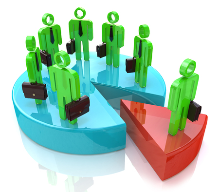 discord: Many people standing on pie chart conceptual 3d illustration in the design of the information related to the economy and teamwork