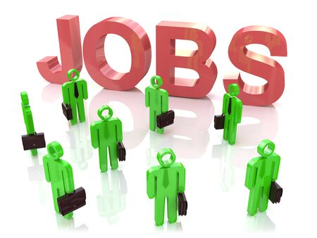 looking for a job: Work Centre: People looking for a job in the design of information related to employment Stock Photo