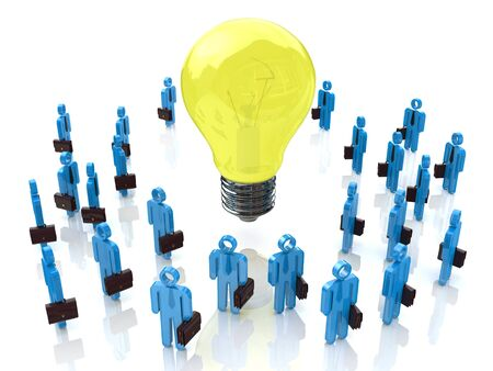 associated: A group of tiny people walking towards a light bulb in the design of information associated with abstraction